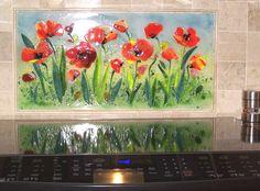 "Fused Glass ""Poppies"" backsplash"