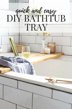 A quick and simple DIY bathtub tray and iPad holder. An easy, modern project that will look amazing in your bathroom! Wooden Bathtub, Diy Bathtub, Bathtub Decor, Bathtub Tray, Bathtub Ideas, Wood Bath, Diy House Projects, Cool Diy Projects, Pallet Projects