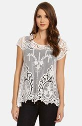 Karen Kane Embroidered Sheer Mesh Top