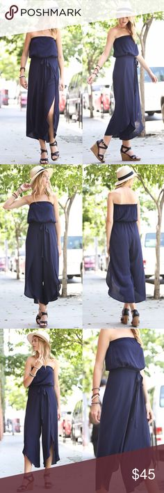 🆕MICAH off shoulder Flutter Jumpsuit - NAVY Super gorgeous & comfy off shoulder solid woven jumper.   AVAILABLE IN OLIVE AND NAVY  🚨NO TRADE, PRICE FIRM🚨 Bellanblue Pants Jumpsuits & Rompers