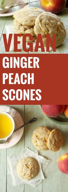 These vegan ginger peach scones have chunks of juicy summer peaches and a slight bite from fresh ginger.
