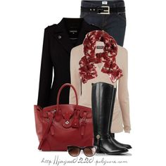 """""""Red, Tan and Black"""" by jaycee0220 on Polyvore"""