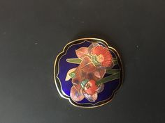 Large Cloisonne Enamel Vintage Flower Brooch , £7.50 by lovelyglo:   Mixed Colour flower (blue  / red / orange)   Enamel Cloisonné Vintage 1980s Brooch.  Great Condition.  Gold  Toned Metal   2  inches circular   safety clasp fastening