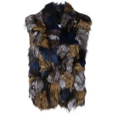 Vince Fox Fur Gilet (6.215 RON) ❤ liked on Polyvore featuring outerwear, vests, brown, black fox fur vest, brown vest, black vest, fox fur vest and black waistcoat