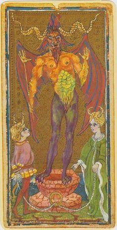 Trump 15 (Devil) from Visconti-Sforza Tarot Tarot Cards Major Arcana, Monster Under The Bed, Capricorn And Aquarius, Tarot Card Decks, Tarot Readers, Oracle Cards, Mythology, Devil, Illustration Art