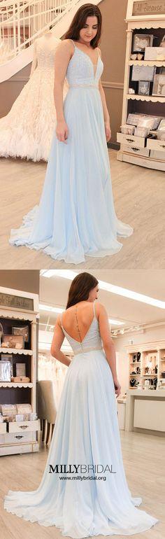 Long Prom Dresses,Sky Blue Prom Dresses 2018,Sexy Prom Dresses Open Back,Spaghetti Straps Prom Dresses Sleeveless