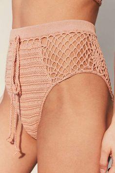 Somedays Lovin Daphne Peach Crochet High-Waisted Bikini Bottoms - Urban Outfitters