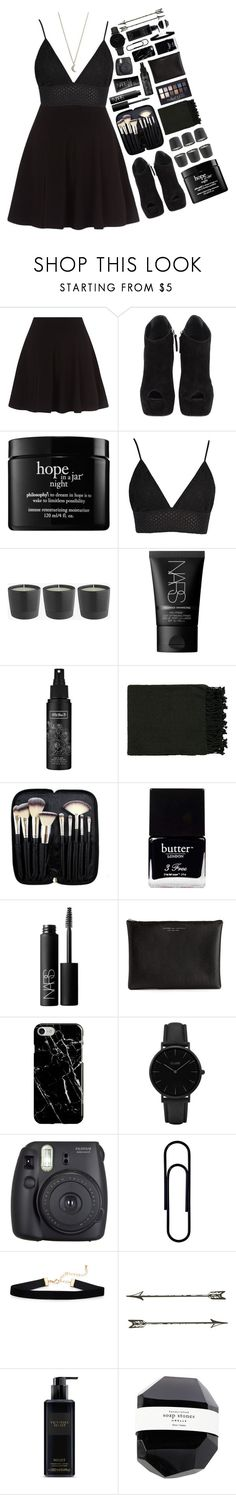 """""""I am damaged, far to damaged"""" by elizabethwoods809 ❤ liked on Polyvore featuring Giuseppe Zanotti, philosophy, NARS Cosmetics, Kat Von D, Surya, Morphe, Maybelline, Butter London, Carven and Recover"""