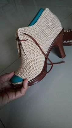 - my crochet shoes Crochet Sandals, Crochet Shoes, Crochet Slippers, Heeled Boots, Shoe Boots, Mode Shoes, Knit Shoes, Shoe Show, Kinds Of Shoes