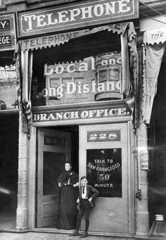 First telephone pay station, Los Angeles, California, USA, 1899