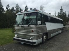 We built this bus up for mining in Alaska. This is a solid bus, far sturdier than a conventional motorhome. Used Bus, Cool Vans, Bus Conversion, Motorhome, Buses, Campers, Recreational Vehicles, Tractors, Conversation