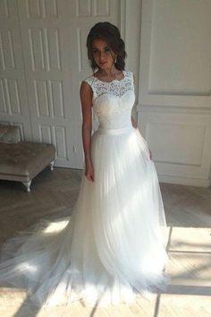 Charming white organza lace round neck wedding dress,custom made dresses