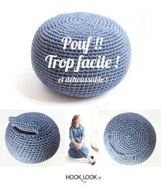 Tuto upgradé Pouf !! trop facile ! Et déhoussable. Removable cushion by hooklook. FREE DIY #pouf #crochet #cushion