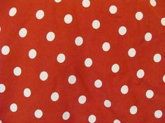 True Red background with Dime sized one half inch white polka dot medium weight Cotton Lycra Knit  Fabric 1 yard