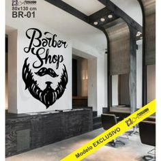 Adesivo Decorativo de Parede Barbearia - BARBER SHOP- BR-01 Logo Barber Shop, Barber Shop Vintage, Barber Shop Decor, Blind Barber, Shop Br, Hair Salon Names, Barber Tattoo, Salon Stations, Barber Haircuts