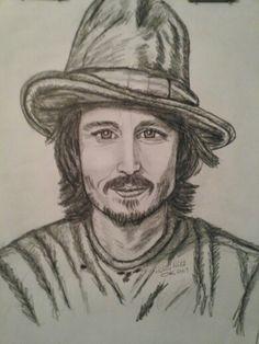 Johnny Depp  art print 18x24 by  Holly Hill