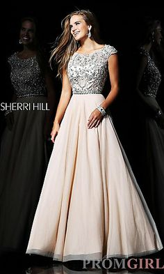 Long Cap Sleeve Ball Gown at PromGirl.com