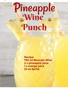 Easy Pineapple Wine Punch is a delicious mixed drink for any occasion. Just 4 ingredients go into this easy wine cocktail! Liquor Drinks, Cocktail Drinks, Cocktail Recipes, Alcoholic Drinks, Sangria Recipes, Refreshing Drinks, Fun Drinks, Yummy Drinks, Party Drinks
