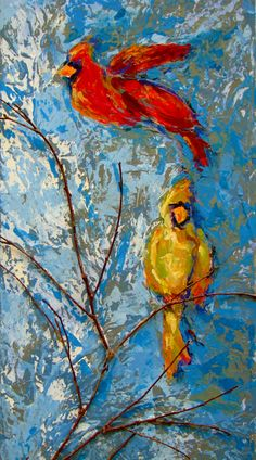 cardinals with a twig on canvas...painted with acrylics in a layered manner