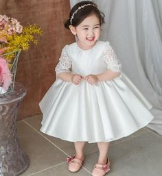 Sewing Baby Lace Bow Dress - Made To Order - High Quality Beautiful Round Neckline Semi Sheer Half Sleeve Knee - Tea Length Big Bow Back Baby Infant Toddler Little Baby Girl Dress Patterns, Dresses Kids Girl, Girls Party Dress, Baby Dress, Girl Outfits, Flower Girl Dresses, Inexpensive Wedding Dresses, Affordable Bridesmaid Dresses, Cheap Prom Dresses