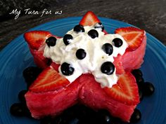 My Turn (for us): Watermelon Star Cake http://www.myturnforus.com/2013/05/watermelon-star-cake.html
