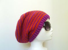 Striped Beanie Unisex Wool Slouchy Beanie Womens by HappyWoollies