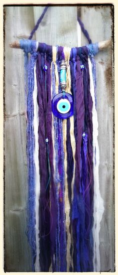 Evil Eye Driftwood Sari Silk Wall Hanging by MysticKeyMeditations