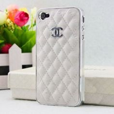 New Chanel Iphone 4 4S case bumper cover - white/Silver cc logo: Cell Phones & Accessories