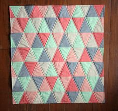Handmade Baby Quilt - Isosceles Triangle Quilt - Mint - Coral - Peach - Grey - Baby blanket - Girl or Boy - Unisex - Free shipping
