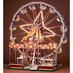 "Fairground Working Model ""Ferris Wheel""""Carimata"", wood and metal, electric light and motor V), hand-painted. Diy Dollhouse, Dollhouse Miniatures, Porta Cupcake, Emoji Craft, Mr Christmas, Xmas, Sky Ride, Toys In The Attic, Halloween Village"