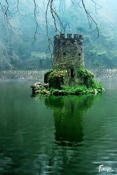 Minature Castle in a Lake, Sintra Portugal