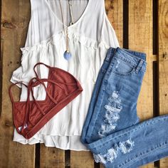 A bralette makes every outfit better! We love this cute casual look!