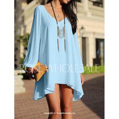 Stylish Women's V-Neck Long Sleeve Hollow Out Dress