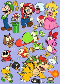 New tattoo sleeve ideas sketches deviantart ideas Super Mario And Luigi, Super Mario Art, Super Mario Brothers, Super Mario Tattoo, Cartoon Drawings, Cartoon Art, Geek Mode, Wallpapers En Hd, Mario Party