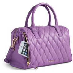 Vera Bradley Quilted Marlo Satchel in Lavender ($129) ❤ liked on Polyvore featuring bags, handbags, lavender, quilted handbags, vera bradley purses, satchel handbags, genuine leather purse and vera bradley handbags
