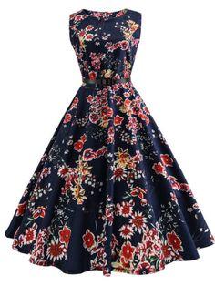 Gamiss Hepburn Vintage Series Women Dress Spring And Summer Flaral Fruit Printing Design Sleeveless Belt Retro Dress Vestidos Pin Up, Vestidos Retro, Pin Up Dresses, Cute Dresses, Vintage Dresses, 1950s Dresses, Floral Dresses, Dresses Online, Audrey Hepburn
