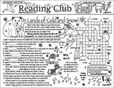 ANIMALS IN LANDS OF COLD AND SNOW Bundle  Includes:  Two-Page Activity Set; Animals in Lands of Ice & Snow word search puzzle;  Reading  log & certificate set.