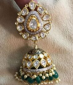 Diamond Jhumkas with Emerald Drops - Jewellery Designs Indian Jewelry Earrings, Jewelry Design Earrings, Gold Earrings Designs, Indian Wedding Jewelry, India Jewelry, Ear Jewelry, Bridal Jewelry, Jewellery Designs, Gold Jewelry