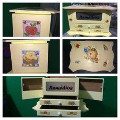 Super #farmacinha ou mais conhecida como caixa de#remedios. Com 5 divisórias. Compre e parcele no cartão de crédito, via mercado livre ou elo7. #amor #diadosnamorados #love #fofo #marianaarteepraticidade #pomada #dodoi #decoupagem #artesanato #mdf #sp #viasedex #decoracao #dodoii #dodoi #cuidademim