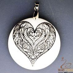 BLACK WHITE NATURAL STONE ENGRAVED PAINTABLE HEART DIY PENDANT ZL7002274 #ZL #PENDANT