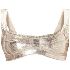 Herve Leger Carmella Allover Sequined Bikini Top (335 AUD) ❤ liked on Polyvore featuring swimwear, bikinis, bikini tops, matte rose blush, beach bikini, bandage bikini, beach swimwear, swim tops and sequin swimwear