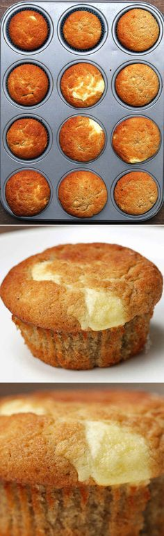 Cream Cheese–FIlled Banana Bread Muffins