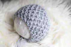 Knitted Gray Wool Bonnet, Knitted New Born Bonnet