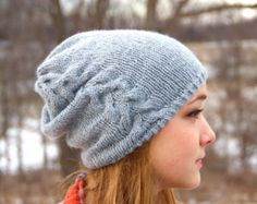 Braided Cable Knit Hat, Wool Hat, Women's Hat, Men's Hat, Winter Hat, Knit Hat, Slouchy Beanie, Ruched Hat, Ski Hat, Silver, Light Gray - Edit Listing - Etsy