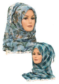 Aqua Reversible Floral & Checked 2 in 1 Hijab    Available at www.hijabbella.com