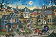 by Bonnie White Halloween Painting, Halloween Art, Halloween Pictures, Country Art, Naive Art, Halloween Horror, American Artists, Art Pictures, Folk Art