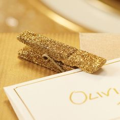 Gold glitter pegs - set of 12