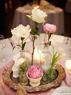 A variety of single stem flowers and vases Wedding Pics, Wedding Events, Our Wedding, Dream Wedding, Weddings, Wedding Ideas, Peonies Centerpiece, Floral Centerpieces, Flower Arrangements