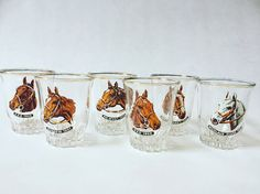 Grand Nationals/Set of 6 shot Grand National, Shot Glasses, Kitsch, Wine Glass, Barware, Pony, Pictures, Stuff To Buy, Vintage