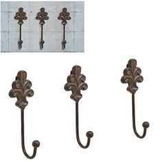 Set of 3 Victorian Style Rustic Brown Cast Iron Wall Mounted Coat Hooks / Hat, Scarf, Purse & Key Hangers